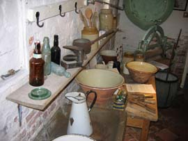 The scullery complete with some of the items in use in Fred's day.