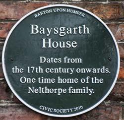 Baysgarth House Plaque